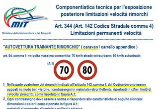 Caravan adesivi limite di velocità 70/ 80