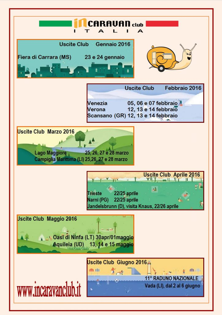 Calendario uscite InCaravan 2016