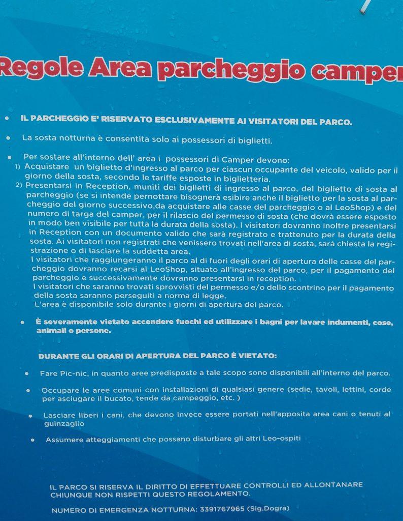 regolamento area camper leolandia