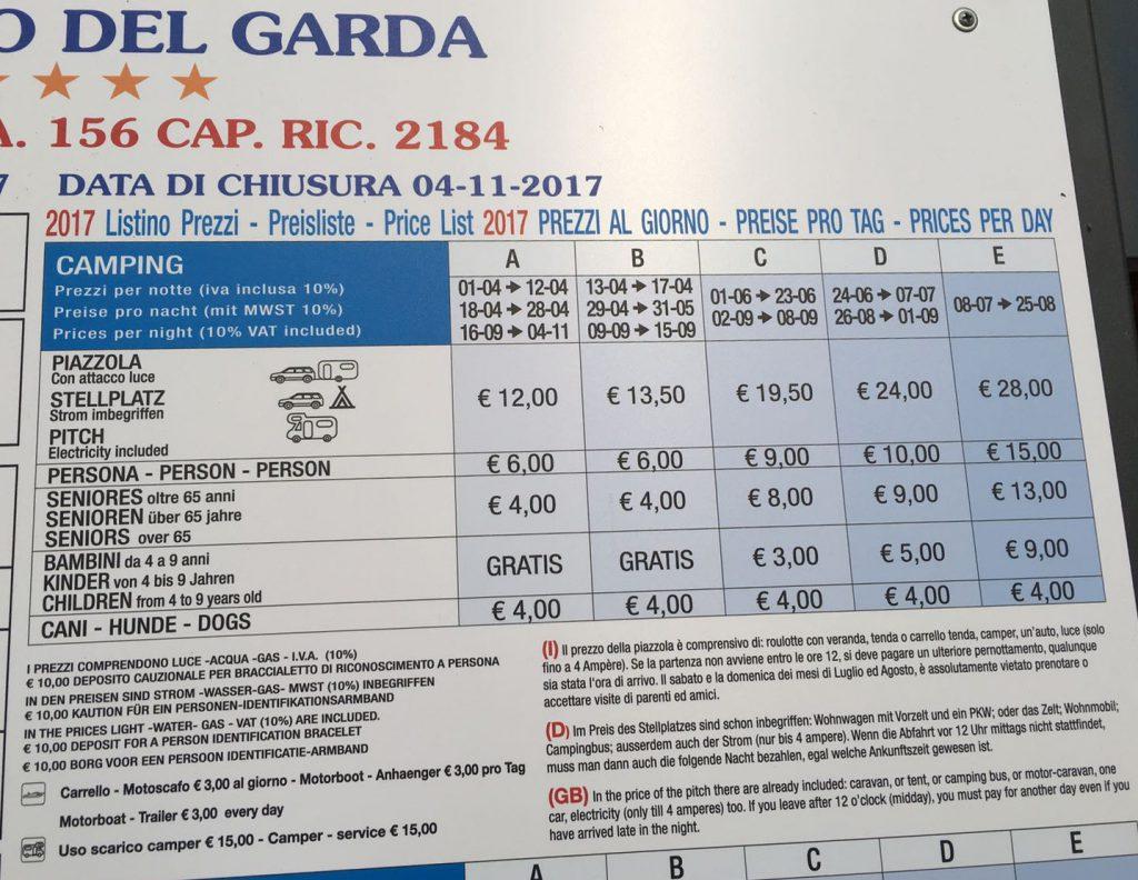 listino prezzi campeggio del garda Peschiera